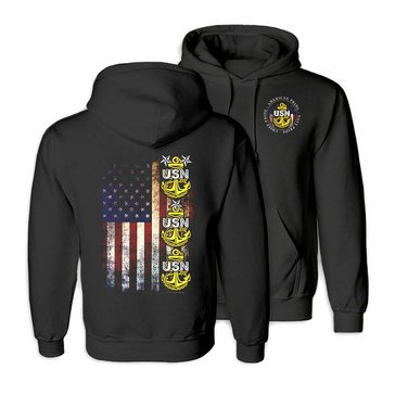 NavalTees USN Chief Flag American Pride Tultex Fleece Hoodie