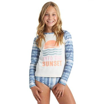 Billabong Big Girls' In A Wave Long Sleeve Rashguard Swim Set