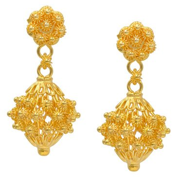 23K 1/2 Baht Drop Filigree Earrings