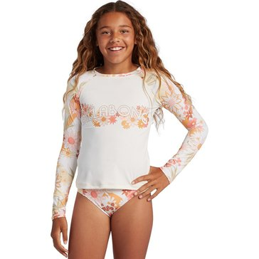 Billabong Big Girls' Little Bit Sunshine Long Sleeve Rashguard 2-Piece Swim Set