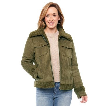 Democracy Womens Faux Suede Jacket