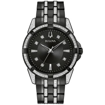 Bulova Men's Box Set Crystal Watch With ID Bracelet