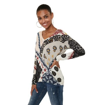 Desigual Women's Print Mix V-Neck Pullover