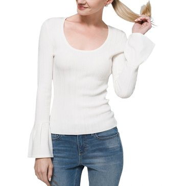 White House Black Market Women's Ribbed Scoop Neck Pull-On Sweater