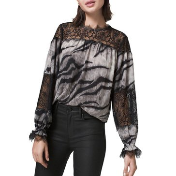 White House Black Market Women's Lace Yoke Tiger Blouse