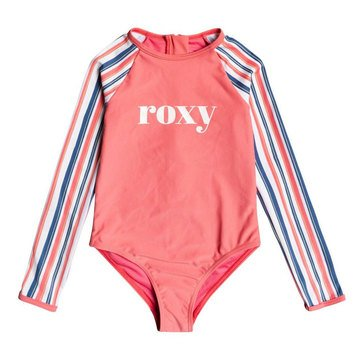 ROXY Little Girls' Surf Feeling Long Sleeve UPF 50 One-Piece Rashguard