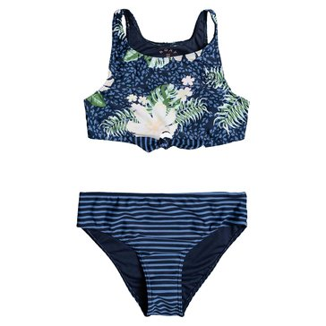 Roxy Girl 2pc Heaven Wave Crop Top Swim Set