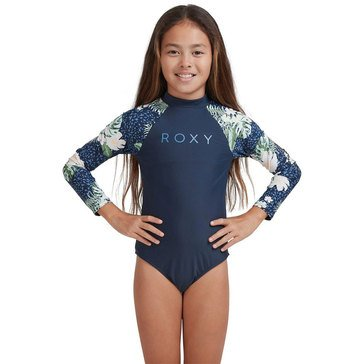 ROXY Big Girls' Floral Long Sleeve One-Piece Swimsuit
