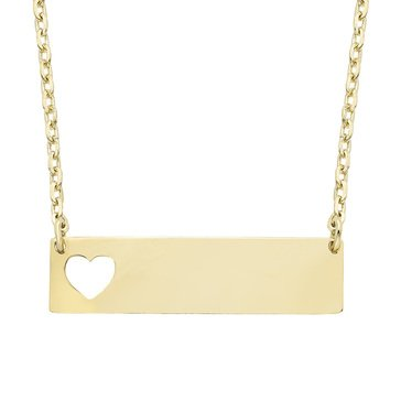 10K Yellow Gold Heart Bar Necklace