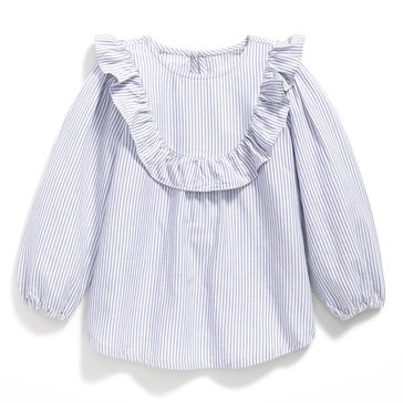 Old Navy Baby Girls' Striped Woven Ruffle Tunic Top