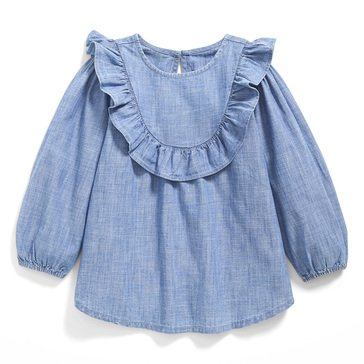 Old Navy Baby Girls' Chambray Woven Ruffle Tunic Top