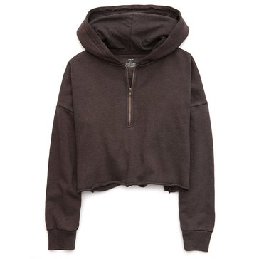 Aerie Women's Cropped Quarter-Zip Fleece Hoodie