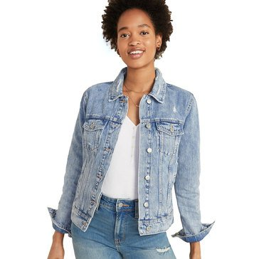 Old Navy Womens Destructed Denim Jacket