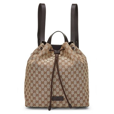 Gucci Brown Canvas Drawstring Backpack