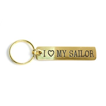 Navy Pride Etched Brass Keychain, I Love My Sailor