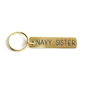 Navy Pride Etched Brass Keychain, Navy Sister
