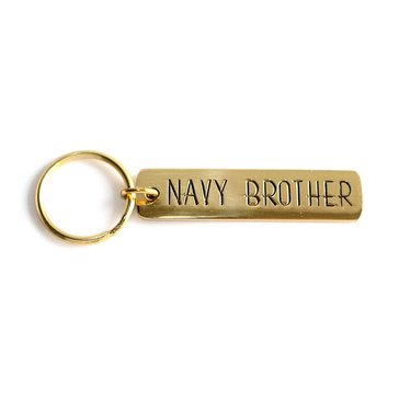 Navy Pride Etched Brass Keychain, Navy Brother