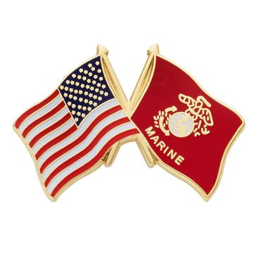 Mitchell Proffitt USA/USMC Crossed Flags Lapel Pin