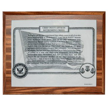 John Wills Studios Inc. USN CPO Retirement Creed Plaque