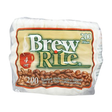 Brew Rite 4-Cup Basket Disposable Filters, 200-Count