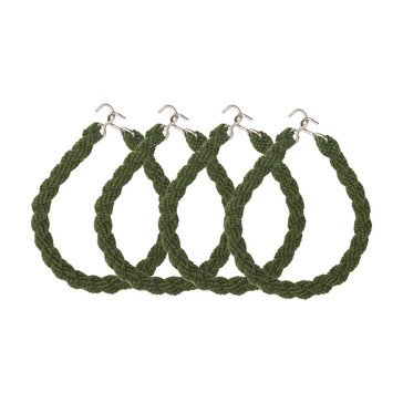 Boot Trouser Blouser OD Green Elastic Rope with Metal Hook/Eye 2 Pair