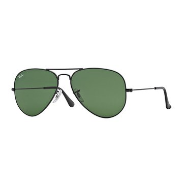 Ray-Ban Unisex Aviator Classic Sunglasses Black/Green Classic 58mm
