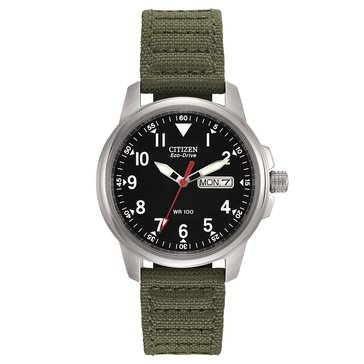 Citizen Men's Eco-Drive Stainless Steel with Green Canvas Strap Watch 37mm