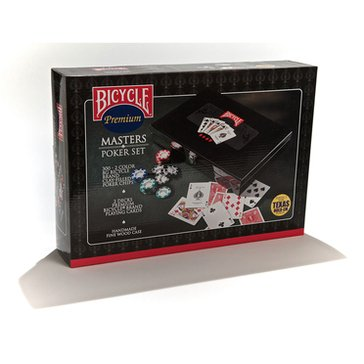 Bicycle Masters 300 Poker Chip Set in a Black Lacquer Box