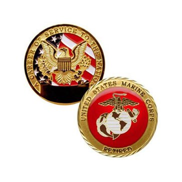 USN USMC Retired Coin