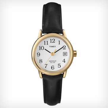 Timex Women's Easy Reader Stainless Steel with Black Leather Strap Watch