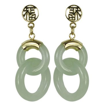14KY Green Dyed Jade Double Circle Earring