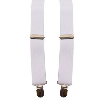 Suspenders White Elastic with Clip Ends