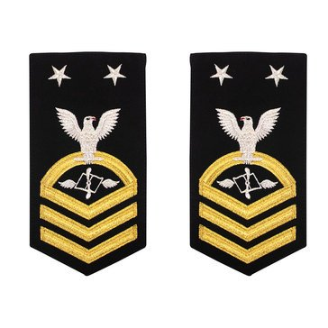 Men's E9 (AZCM) Rating Badge in STANDARD Gold on Blue POLY/WOOL for Aviation Maintenance Adm