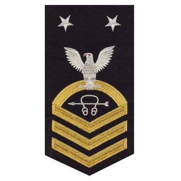 Men's E9 (STCM) Rating Badge in STANDARD Gold on Blue POLY/WOOL for Sonar Technician