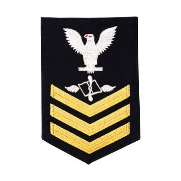 Men's E4-E6 (AZ1) Rating Badge in STANDARD Gold on Blue SERGE WOOL for Aviation Maintenance Adm