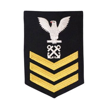 Men's E4-E6 (BM1) Rating Badge in STANDARD Gold on Blue SERGE WOOL for Boatswain's Mate