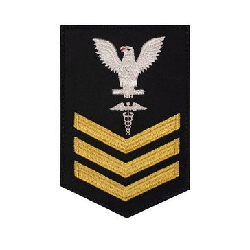 Men's E4-E6 (HM1) Rating Badge in STANDARD Gold on Blue SERGE WOOL for Hospital Corpsman