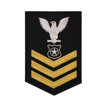 Men's E4-E6 (MA1) Rating Badge in STANDARD Gold on Blue SERGE WOOL for Master At Arms