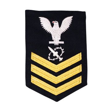 Men's E4-E6 (MT1) Rating Badge in STANDARD Gold on Blue SERGE WOOL for Missile Technician