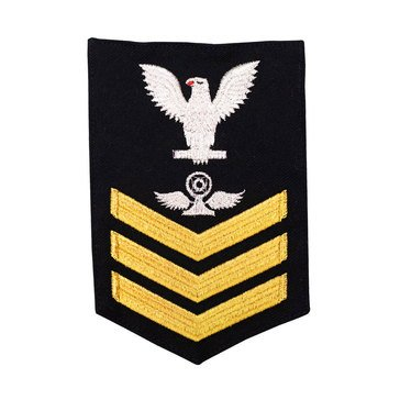 Men's E4-E6 (AT1) Rating Badge in STANDARD Gold on Blue SERGE WOOL for Air Traffic Controller