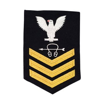 Men's E4-E6 (ST1) Rating Badge in STANDARD Gold on Blue SERGE WOOL for Sonar Technician