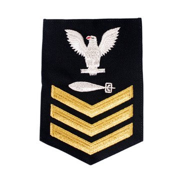 Men's E4-E6 (TM1) Rating Badge in STANDARD Gold on Blue SERGE WOOL for Torpedoman