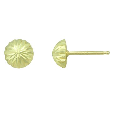 14K Yellow Gold 6mm Dome Earrings