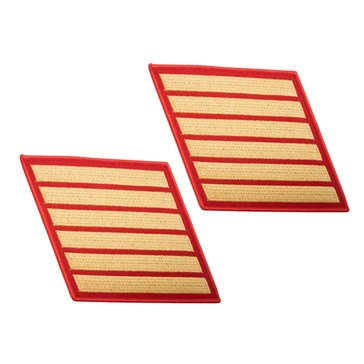 USMC Men's Service Stripe Set 6 Gold on Red Merrowed