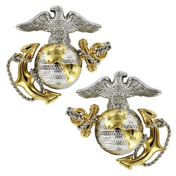 USMC Collar Device EGA Gold/Silver Dress Officer