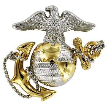 USMC Cap Device EGA Gold/Silver Regular Size Officer