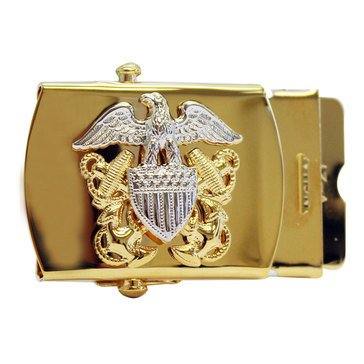 Men's Gold Buckle OFF with Officer Crest with Silver Mirror Eagle