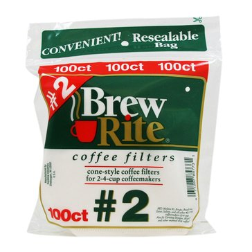 Brew Rite #2 Cone Filters, White Paper, 100-Count