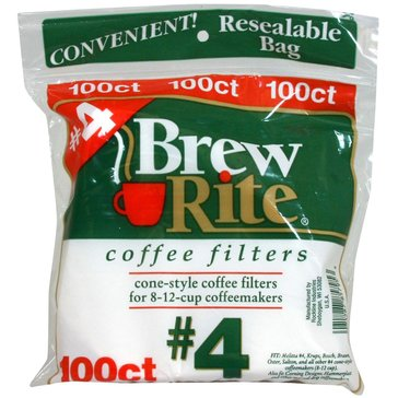 Brew Rite #4 Cone Filters, White Paper, 100-Count