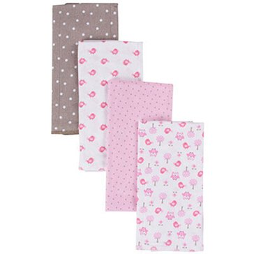 Gerber Baby Girls' 4-Pack Flannel Burpcloths